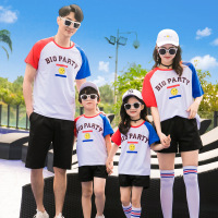 Summer Sets Family Matching Outfits Dad Mom Son Girl Cotton Letter T Shirt+Shorts 2PCS Vacation Patchwork TShirt Sport Clothes