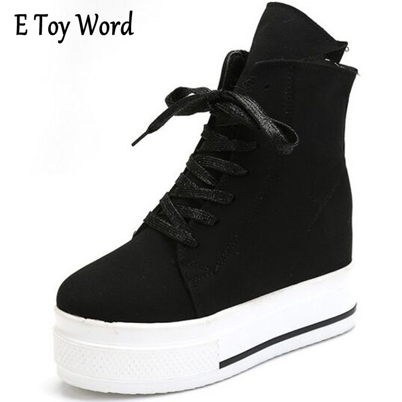 E TOY WORD Womes Casual Shoes Spring Platform Lace High Help Fashion Canvas Shoes Female Increased Classic Female Students Style e toy word canvas shoes women han edition 2017 spring cowboy increased thick soles casual shoes female side zip jeans blue 35 40