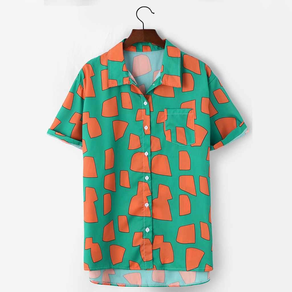 ハワイのメンズシャツカミーサカジュアル半袖シャツエスニックプリントターンダウン襟ストライプトップスカミーサ masculina