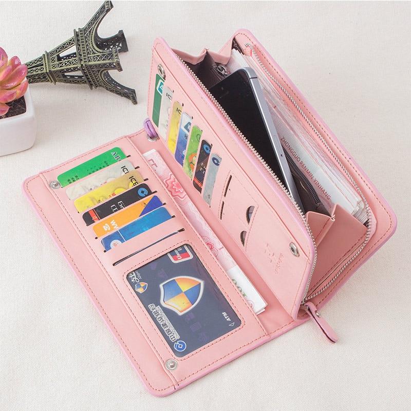 MINOFIOUS Women PU Leather Clutch Phone Wallet Zipper Long Designer Leather Coin Purses Solid Money Bag Purse Card Wallet