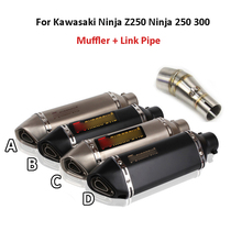 Ninja250 300 Motorcycle Exhaust System Muffler Silencer Pipe Modified Mid Link Pipe For Kawasaki Ninja z250 Ninja 250 300 motoo carbon fiber exhaust muffler pipe link middle pipe escape for kawasaki ninja 250 r ninja 300 z250 z300 2008 2017 slip on