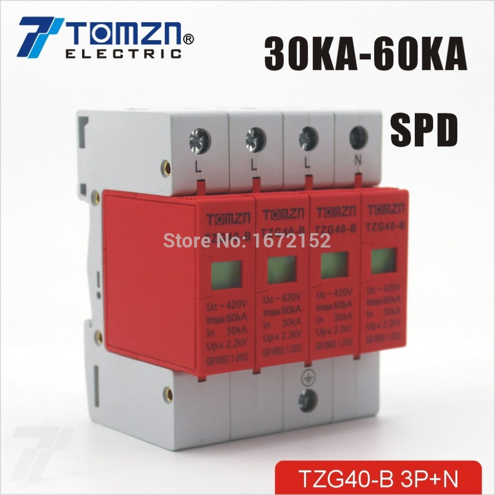 SPD 3P+N 30KA~60KA D ~385VAC House Surge Protector Protective Low-voltage Arrester Device 93 ac gr 40