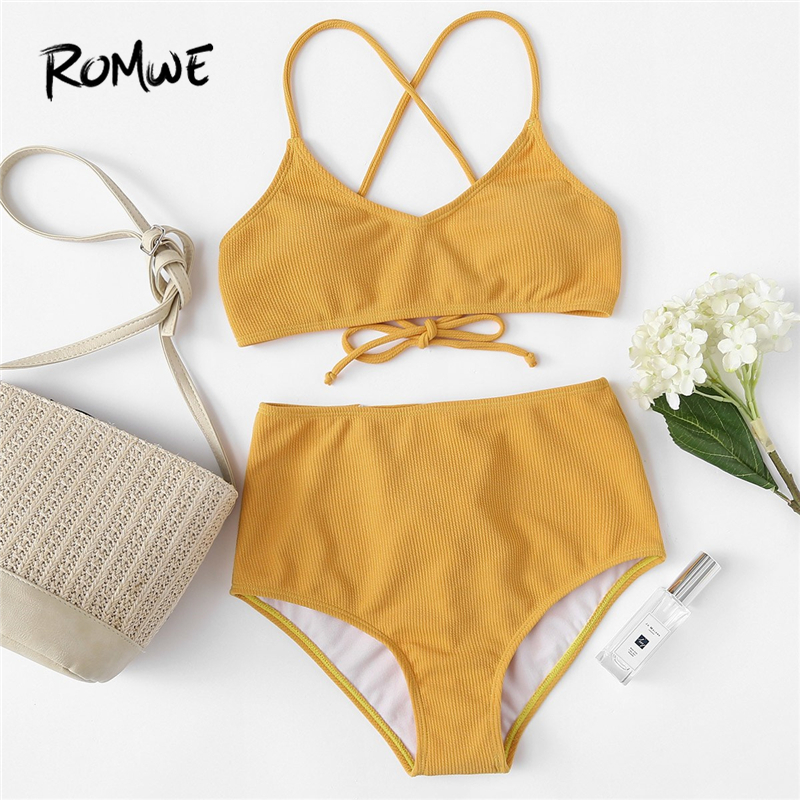 Romwe Swimsuit Women Bikini-Set Two-Piece Yellow High-Waist Sport Bottoms Sexy Summer