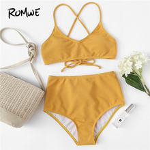 Romwe Sport Rib Knit Bikini Set High Waist Bikini Bottoms Two Piece Swimsuit Women Summer Sexy Lace Up Yellow Bathing Suit недорого