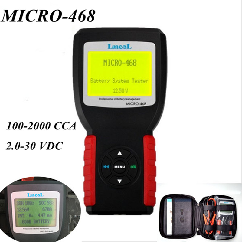 Lancol 12V Car Battery Tester MICRO-468 Diagnostic Tool 100-2000 CCA  Battery Tester Analyzer ninth world new handheld storage battery tester car analyzer digital 6v 12v voltage capacity