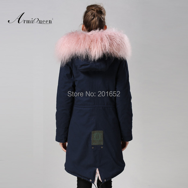 Free Shipping factory direct 1 Pc Winter Women Warm wool Fur Collar hooded long coat Jacket hoodie quilted Puffer blue mr parka 6