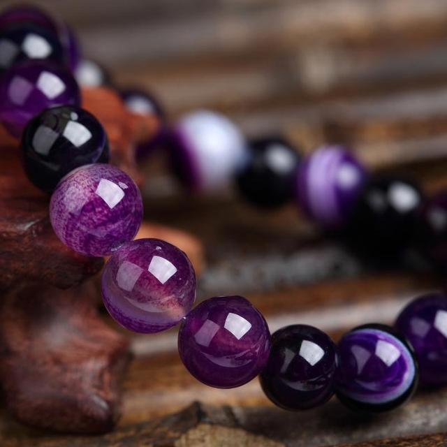 Meajoe Trendy Natural Stone Love Purple Bead Bracelet Vintage Charm Round Chain Beads Bracelets Jewelry For Women Friend Gift 4