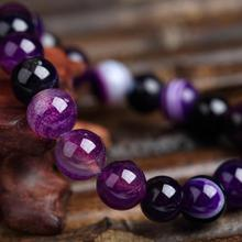 Trendy Natural Stone Love Purple Bead Bracelet Vintage Charm Round Chain Beads Bracelets Jewelry For Women Friend Gift