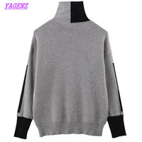 New Large Size Winter Warm Young Women Knitted Sweaters Loose High Collar Pullover Sweater Women Thicken