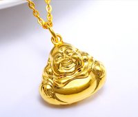 New 24K Yellow Gold Laugh Buddha Pendant 2.84g