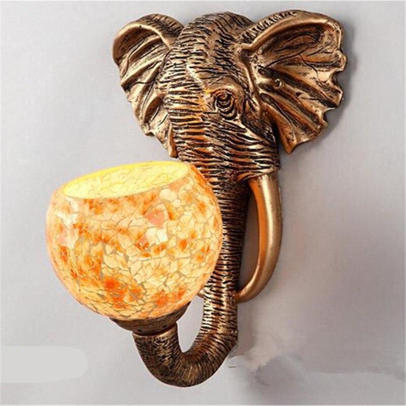 Wonderland chine asie du sud-est Style éléphant applique éclairage de luxe E27 abat-jour en verre vente chaude pour la maison haut à la mode WL-2