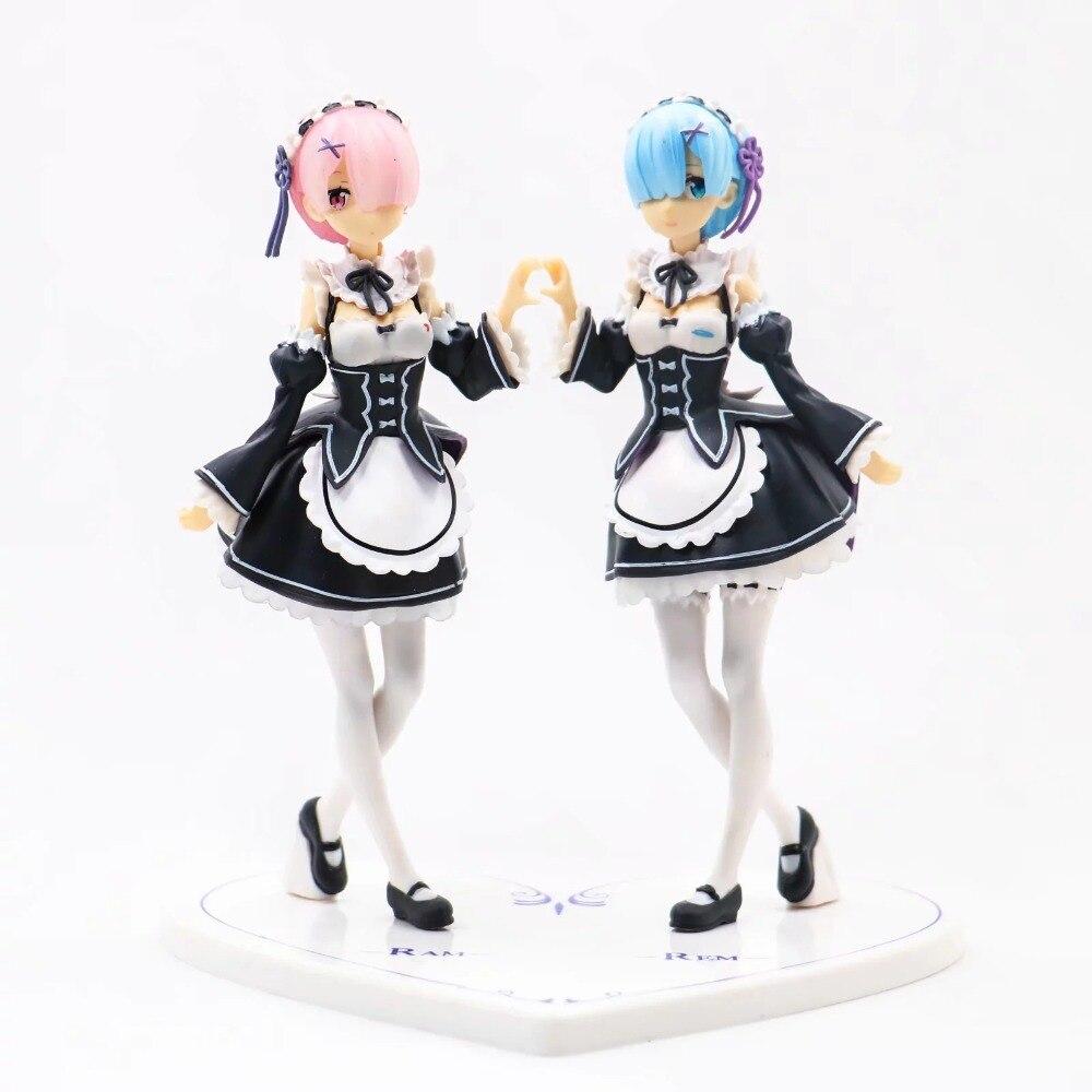 2 pièces/ensemble Re zéro kara Hajimeru Isekai Seikatsu ram rem figurine d'action PVC jouets collection poupée dessin animé modèle