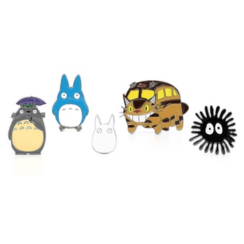 Wellcomics Anime Ghibli My Neighbor Totoro Chuu-Totoro Catbus Susuwatari Soot Spirits Metal Badge Pin Brooch Chest Ornament Gift circle