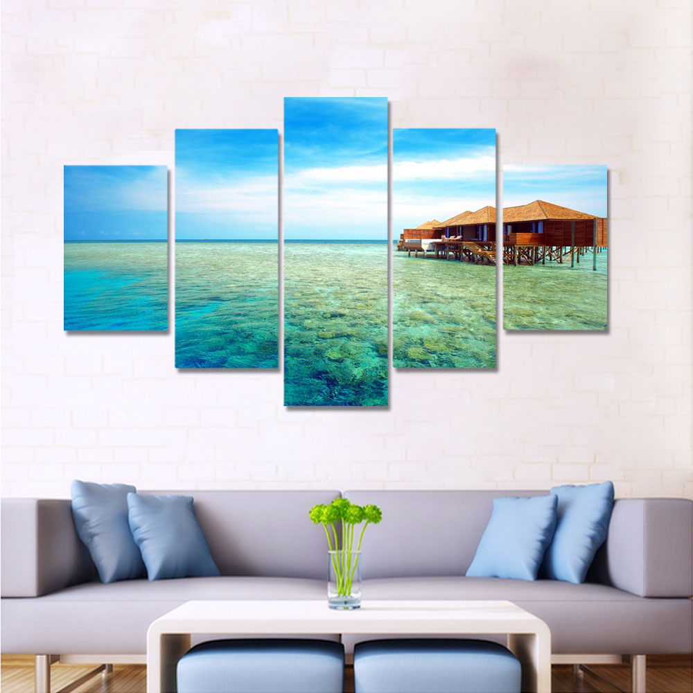 Unframed HD Canvas Prints Blue Sky Sea Level Clear Water Attic Seascape Prints Wall Pictures For Living Room Wall Art Decoration