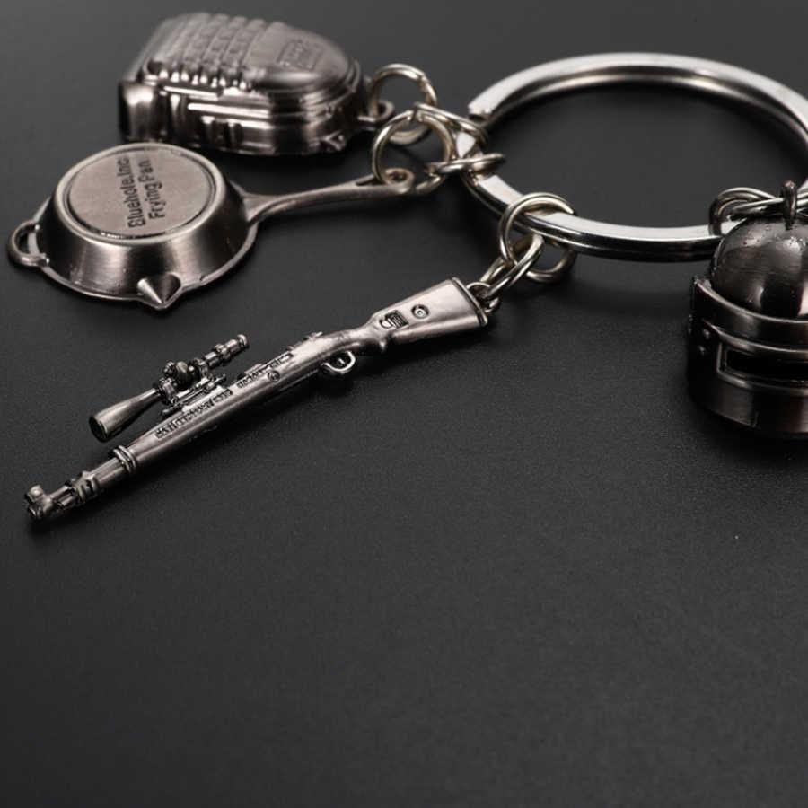 เกม PUBG พวงกุญแจระดับ 3 กระเป๋าเป้สะพายหลังกระทะพวงกุญแจ Playerunknown Battlefield คอสเพลย์ Props