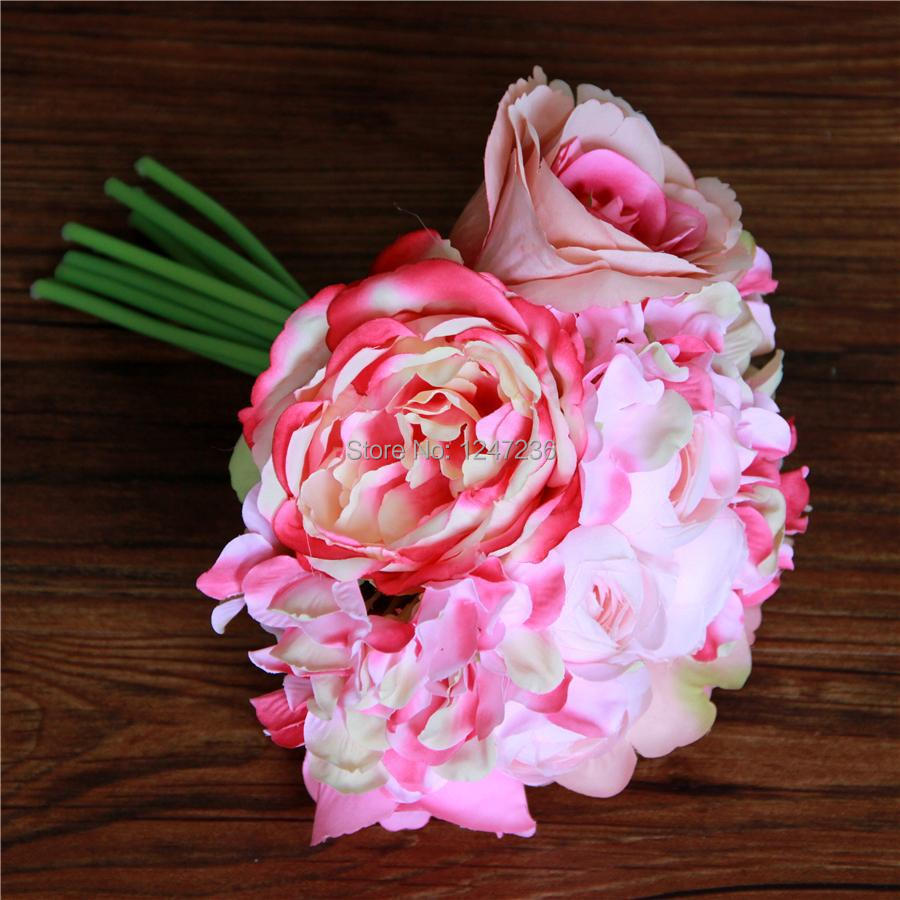 Hot Pink Silk Posy Roses Flowers Wedding Bridal Roses Flowers
