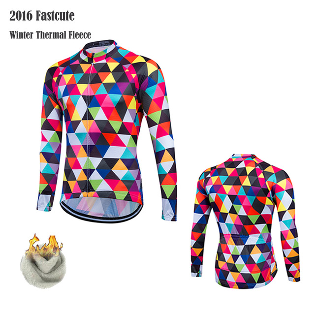 2017 Winter Thermal Fleece Cycling Jersey Long Sleeve Men/ Woman Cycling Racing Jacket MTB Warm Riding Clothes Bike Wear Pockets