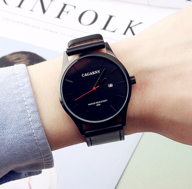 2017 NEW Luxury Brand CAGARNY Men Sport Watches Men's Quartz Clock Man Army Military Leather Wrist Watch Relogio Masculino