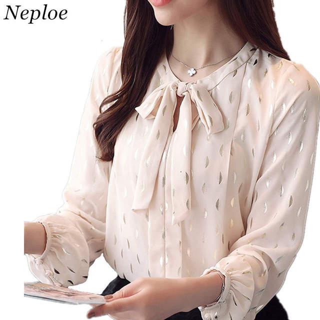 9b30b6711ff5c5 Neploe Chiffon Blouse 2019 Spring Long Sleeve Shirts O-neck Bow Tie Design Tops  Woman Fashion Elegant Blouses 34969
