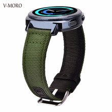 Gear Sport Band V-MORO 2018 New 20MM Nylon+Leather For Samsung Gear Sport / Gear S2 Classic Straps Replacement Gear Sport Bands samsung gear s2 sport silver