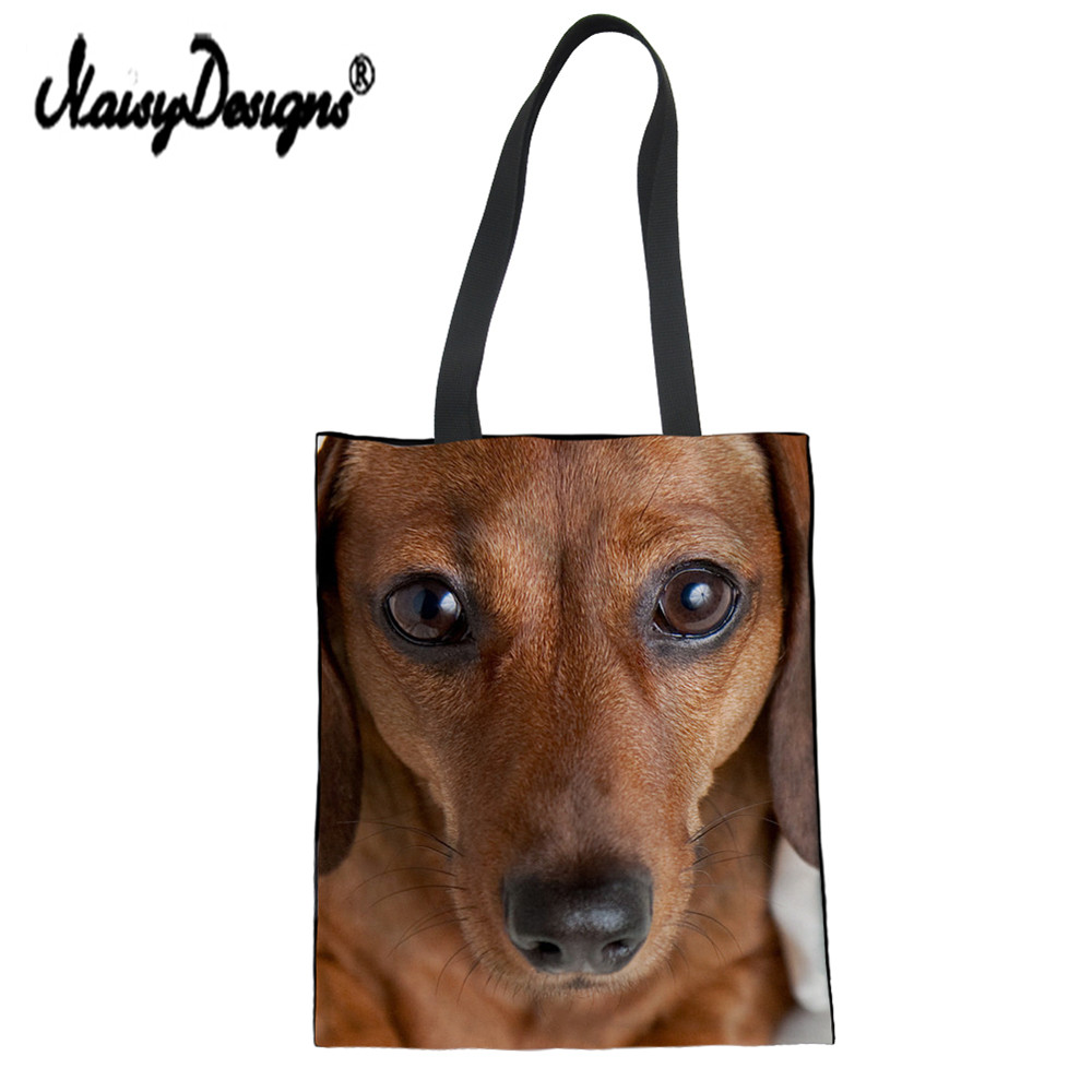 NoisyDesigns Women Canvas Tote Bag Dachshund Printing Reusable Shopping Bag  Women School Handbags Folding Shoulder Grocery Bags-in Shopping Bags from  ... 3204ffba1d
