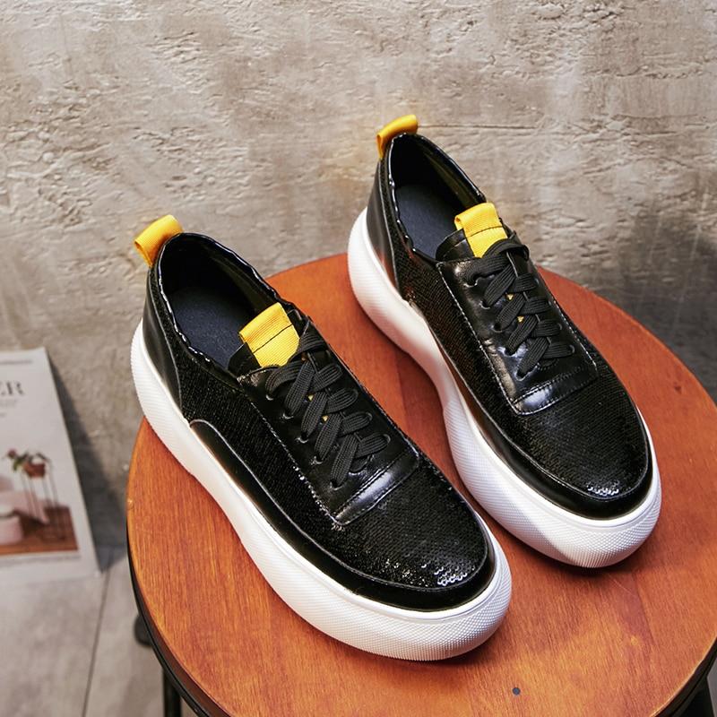 Noir Appartements Derbies Plates Chaussures forme En Xiuningyan Cuir Plate argent Vache Plat Bling Dentelle Noir Creepers Femmes up 2018 Argent Rétro w7xqqUBZ