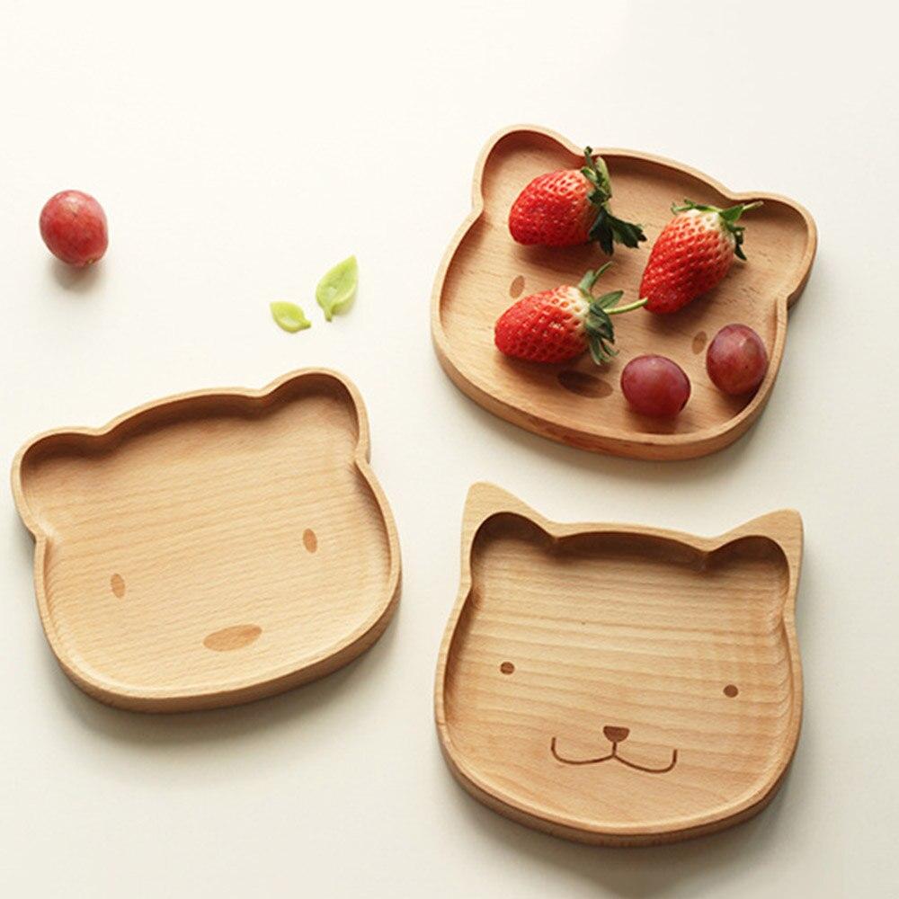 Sevimli Tavşan/Ayı katı ahşap Kase Ahşap Sofra Karikatür Desen Gıda meyve çanağı Tepsi Çocuk Bebek Servis Ahşap Plaka