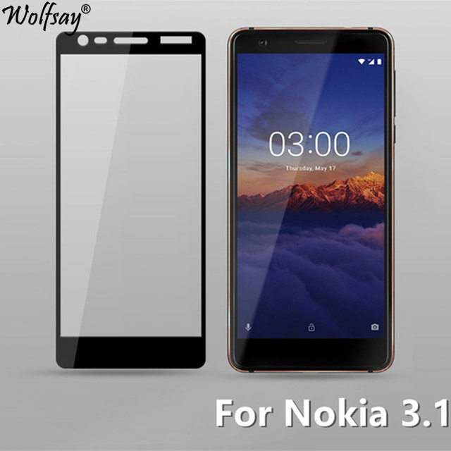 SFOR Nokia 3.1 temperado tampa de vidro completa Protetor de Tela Para Nokia 3.1 Vidro Cor Anti Explosão de protecção de vidro Para Nokia3.1