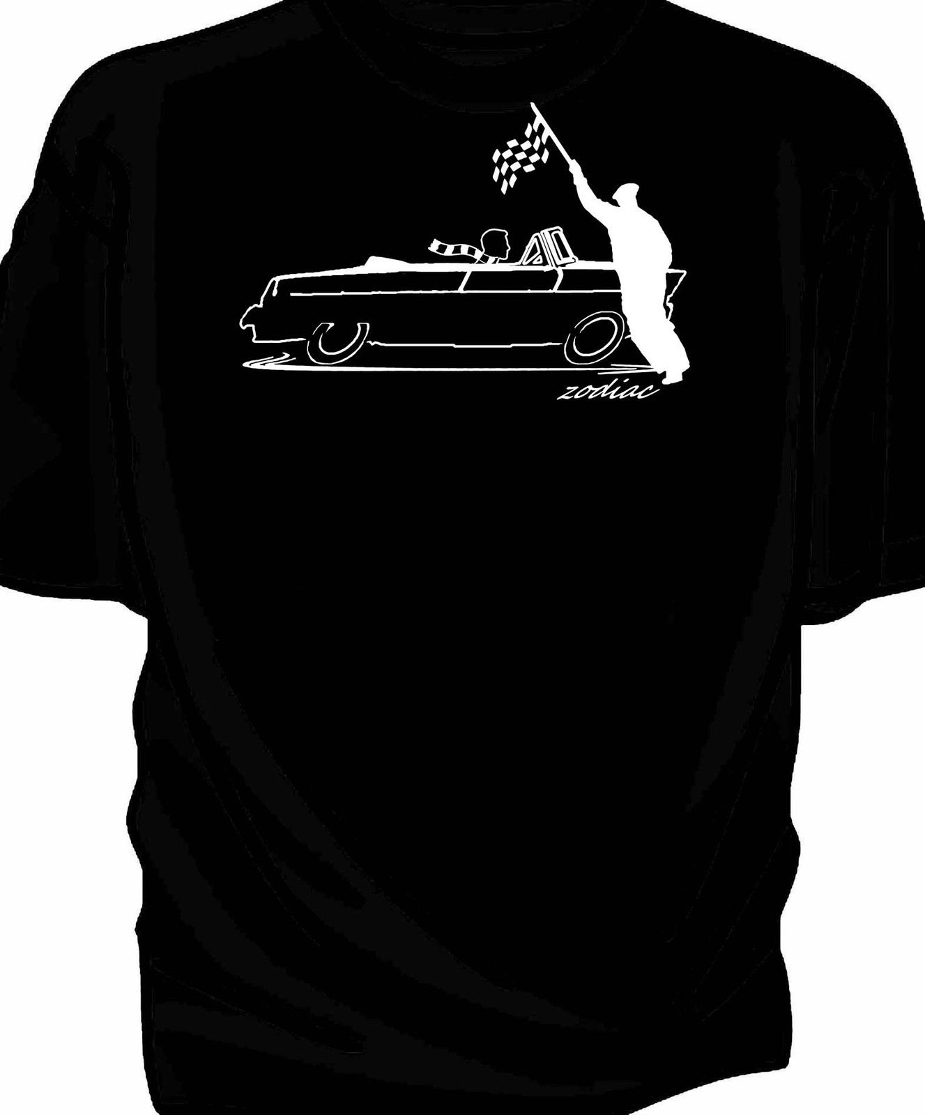 Original sketch Chequered flag retro t-shirt classic Zodiac Mk2 206e 1959 New T Shirts Funny Tops Tee Unisex