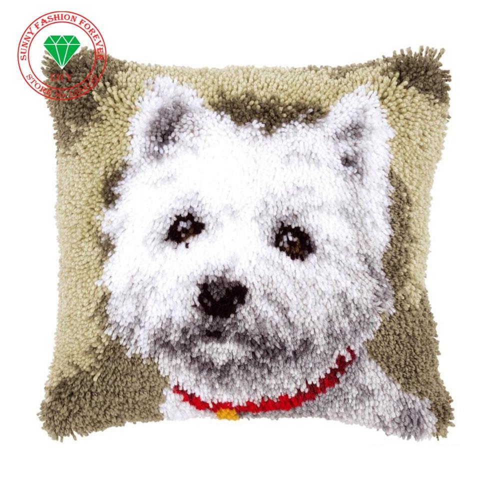 Animal Dog Pictures DIY Latch Hook Rug Kits Unfinished Crocheting Costura 3D Yarn Needlework Cushion Set