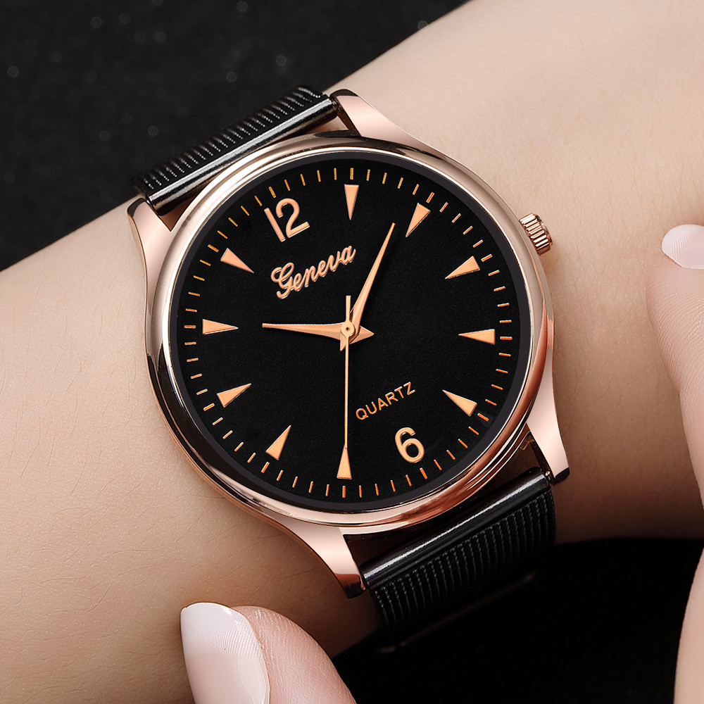 Geneva Stainless Steel Analog Quartz Wrist Watch Lady Mesh Band Bracelet Watch Feminino