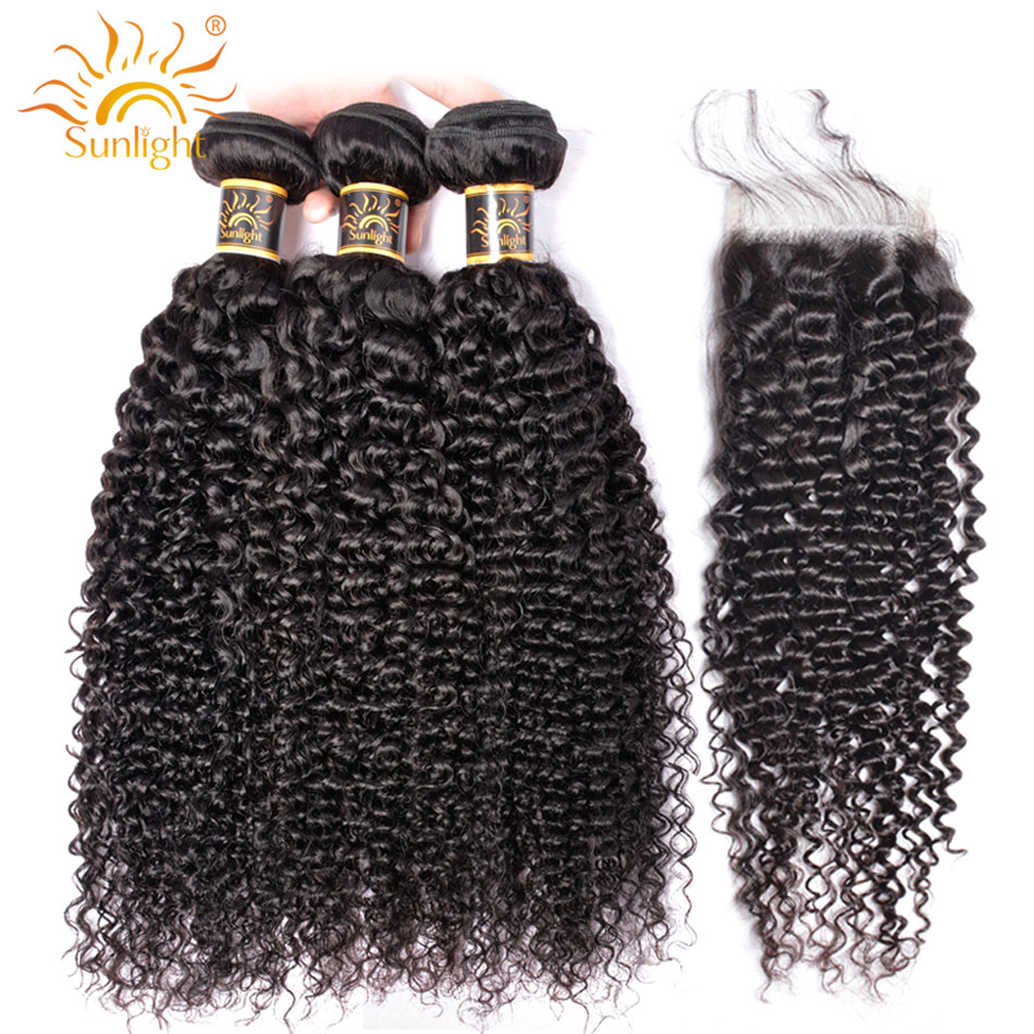 Kinky Curly Bundles With Closure Mongolian Curly Hair Bundles With Lace Closure Sunlight Remy Human Hair