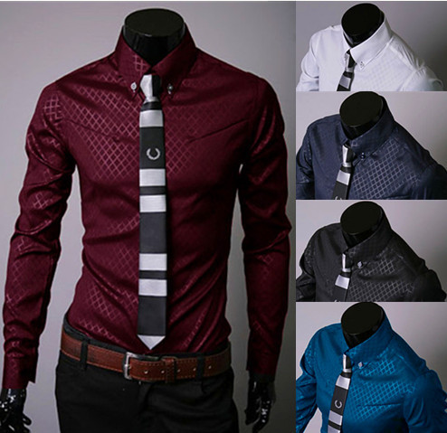 8ecc18b9a8fd Fashion New Mens Dress Shirts Slim Fit Business Formal Camisa Masculina  Long Sleeve Red Black White Chemise Homme Good Quality