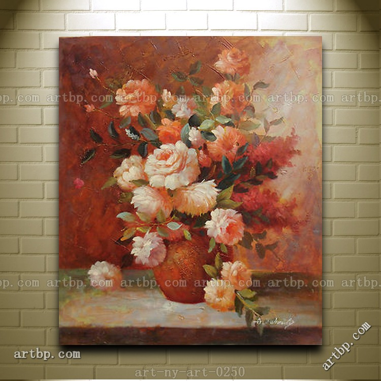 Very Nice Flowers In Vase Oil Painting On Stretched Canvas In Size