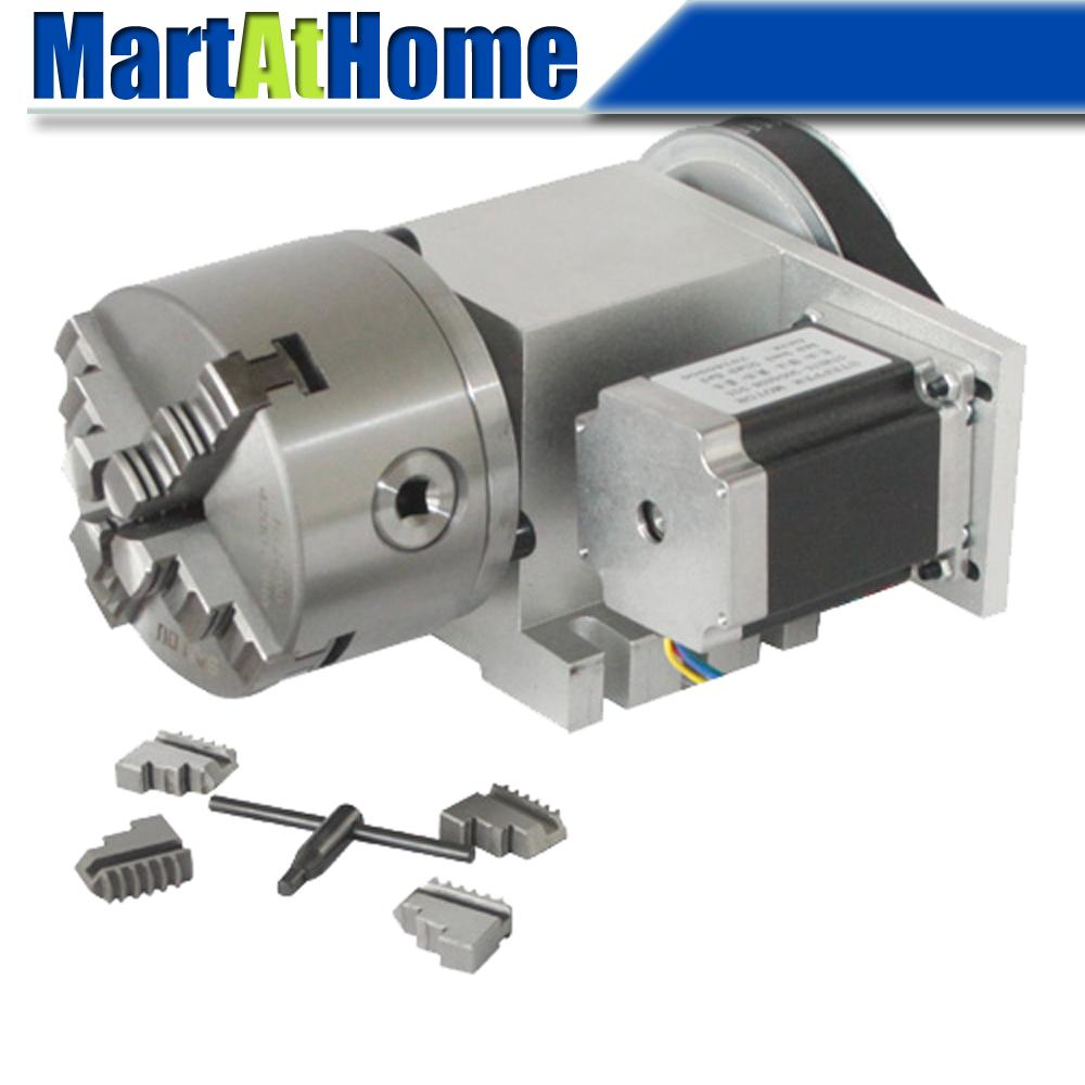 CNC Machine Rotary Axis 4th Axis A Axis With Three/four-jaw Chuck & 57 2-Phase 250 Oz-in Stepper Motor