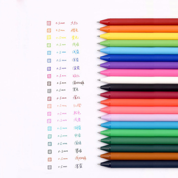 20Pcs/set KACO Kawaii Candy Color Retractable Gel Pens for Kids Adult Colours 0.5mm Cute Colored Ink Neutral Gel Pen Stationery 1