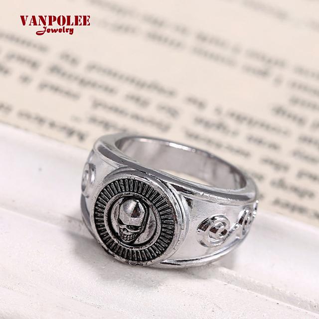 Vanpolee Skull Rock Big Silver Plated Men Ring