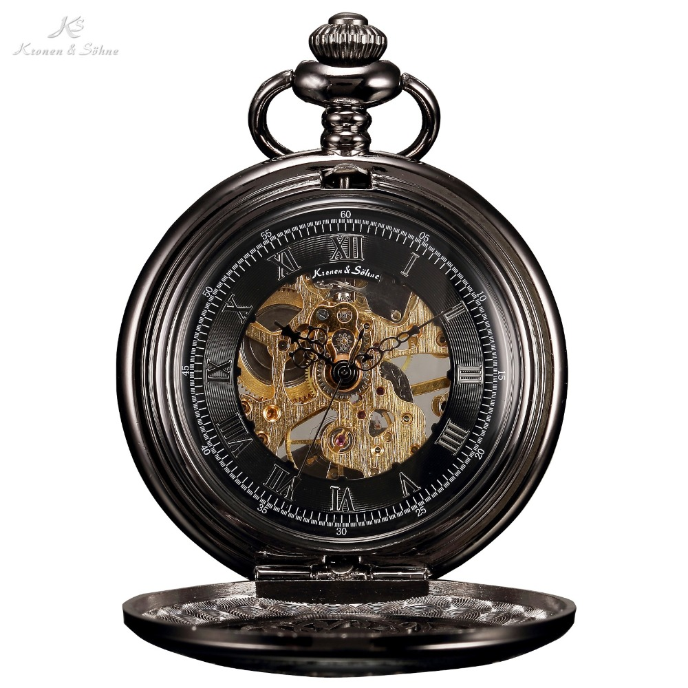 KS Retro Black Skeleton Alloy Case Hand Wind Mechanical Long Chain Clock Steampunk Style Analog Men Jewelry Pocket Watch /KSP047 цена и фото