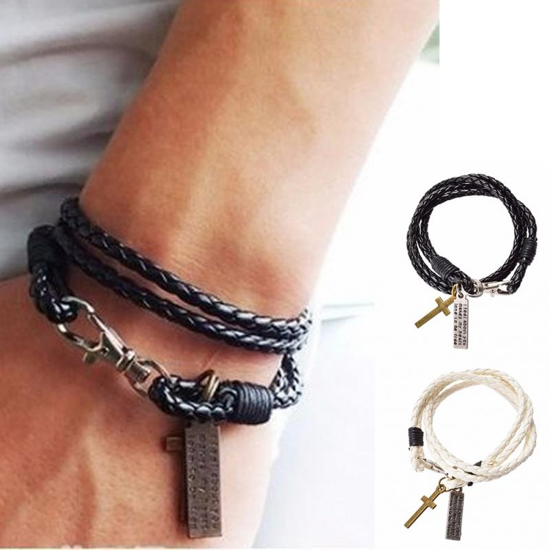 eadd9a689d6b7 US $1.08 14% OFF|1PC Fashion Male Bracelet Jewelry Christmas Gift Leather  Pulseira Masculina Cross Bracelets Men Best Friendship Bracelets-in Charm  ...