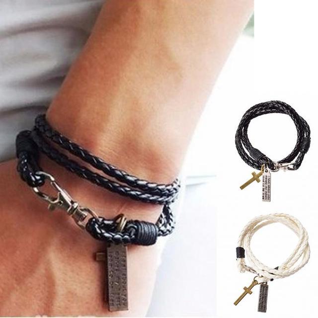1pc Fashion Male Bracelet Jewelry Christmas Gift Leather Pulseira Masculina Cross Bracelets Men Best Friendship