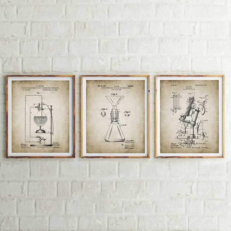 Vintage Science Patent Poster Print Chemistry Laboratory Decor Science Student Gift idea Canvas Painting Picture Home Decoration