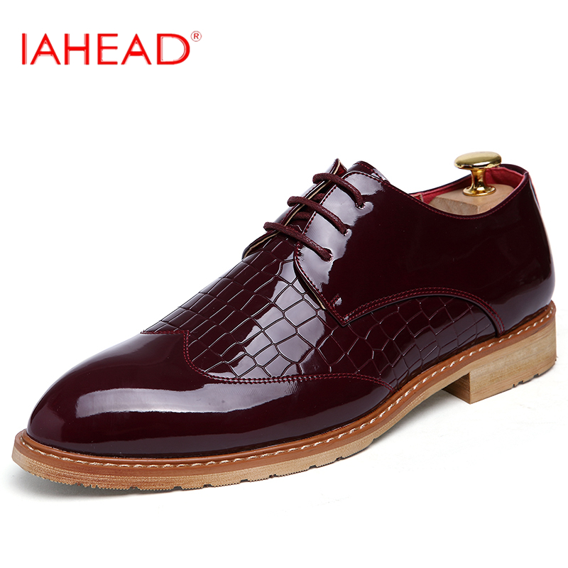 Vintage Design Men's Fashion Print Plus size Patent leather Business Dress Shoes Mens Casual Lace-up Flats EUR size 38-48 MF005