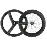 High Quality Chinese T700 Carbon 3 Spoke Front Wheel 88mm Rear Wheel Carbon Wheels For Fixed Gear