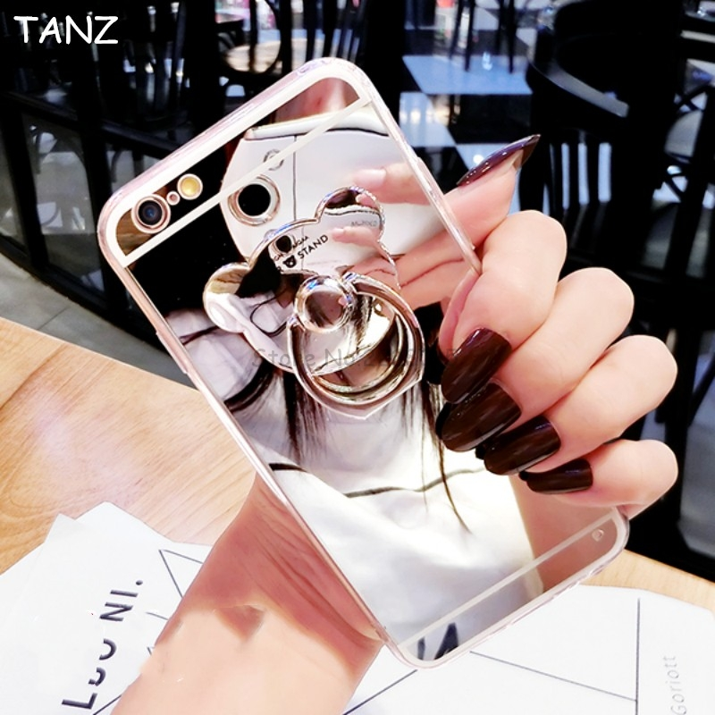 TANZ Luxury Mirror Soft Cases For Iphone X TPU Cover For Iphone 6 6S 7 8 Plus SE 5S 5 <font><b>Bear</b></font> <font><b>Ring</b></font> Stand Ultra Slim <font><b>Phone</b></font> Case