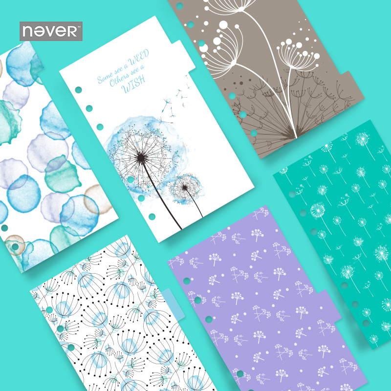 Never Dandelion Spiral Notebook Index Dividers For Dokibook A6 Planner Refill Paper Korean Stationery Office & School Supplies never korean spiral notebook 6 hole loose leaf inside page index page for filofax planner a6 dividers bookmark school stationery