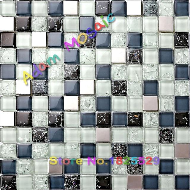 € 179.09 |Pas cher mosaïque dosseret bleu carreaux de verre salle de bains  mur art tuiles déco matel acier carrelage crackle puces cuisine métro ...
