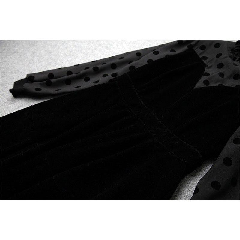 Autunno Rappezzatura Delle Trendy Sexy Inverno Moda Basamento Puntino Designer 2019 Stampato Nero New Il Velluto Donne Di Abiti Del Polka Collare X8qcaw