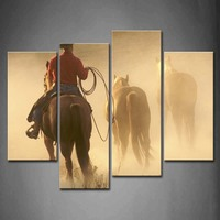 Framed Wall Art Pictures Cowboy Horses Evening Canvas Print Artwork Animal Posters With Wooden Frames For Living Room