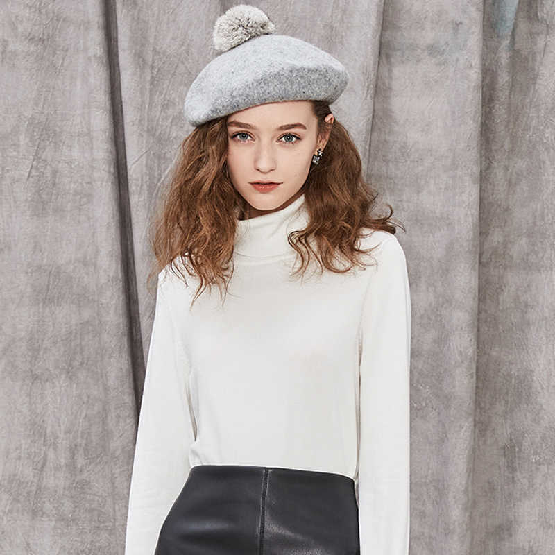 db03796ccab60 Winter Beret Women 100% Wool Hat Black Classic French Berets 2017 New High  Fashion Ladies