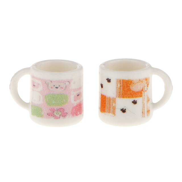 Cute 1:12 Dolls House Miniature Colorful Cups Mugs Doll House Kit Tea Cup Dining Room Pub Bar Accessory 2pcs Kitchen Furniture